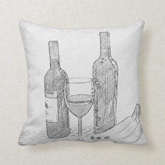 ワイン・ボトルの静物画のスケッチ クッション
