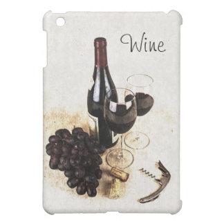 ワイン・ボトル、ガラス、ブドウおよびコルク iPad MINIケース