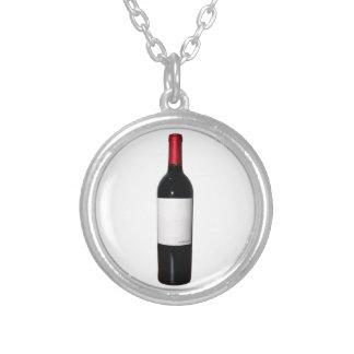 ワイン・ボトル(空白のなラベル)のネックレス シルバープレートネックレス