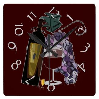ワインnの裂け目(バーガンディ)のボトル スクエア壁時計