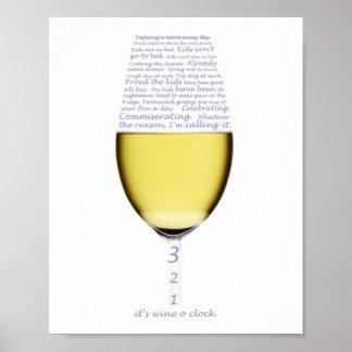 ワインoの時計ポスターの宣言 ポスター