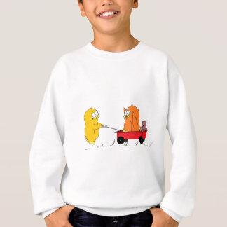 ワゴンで遊んでいるペンギン スウェットシャツ