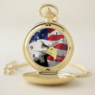 ワシおよび米国旗の壊中時計 ポケットウォッチ
