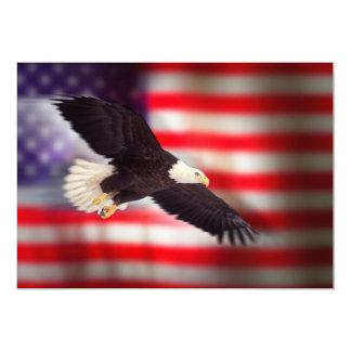 ワシおよび米国旗の招待状 カード