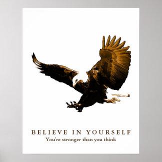 ワシのやる気を起こさせるな自信はあなた自身で信じます ポスター