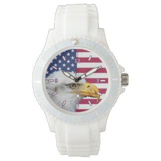 ワシのスポーティな腕時計が付いている米国旗 腕時計