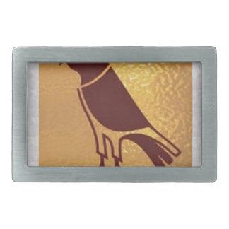ワシのタカフクロウのグラフィックアート金肉食鳥 長方形ベルトバックル