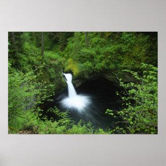 ワシの入り江、コロンビア川のPunchbowlの滝 ポスター