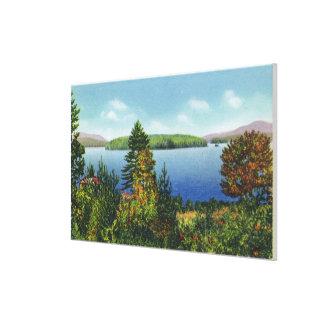 ワシの島およびより低いSaranac湖の眺め キャンバスプリント
