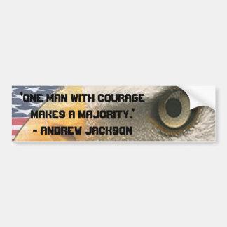 ワシの目とのアンドリュー・ジャクソンの引用文の勇気 バンパーステッカー