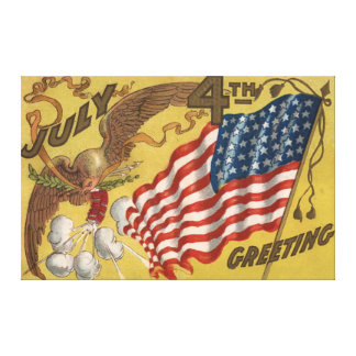 ワシの花火の爆竹米国の旗 キャンバスプリント