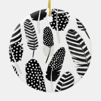 ワシミミズクの羽パターン水彩画の白黒 セラミックオーナメント