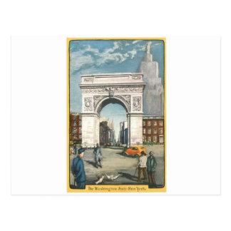 ワシントン州のアーチ。 ニューヨーク。 ヴィンテージの塗ること ポストカード
