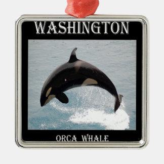 ワシントン州のシャチのクジラ メタルオーナメント