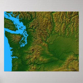 ワシントン州の地図 ポスター