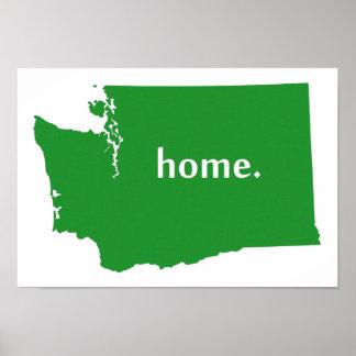 ワシントン州の家のシルエットの州の地図 ポスター
