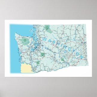 ワシントン州の州連帯の地図のプリント ポスター