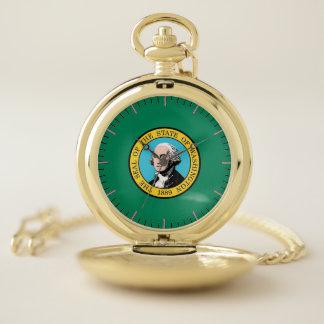 ワシントン州の愛国心が強い壊中時計の旗 ポケットウォッチ