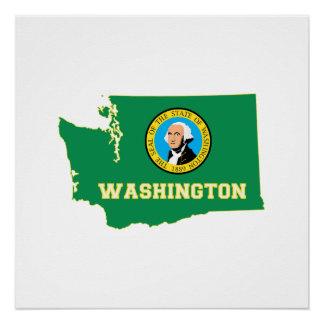 ワシントン州の旗および地図 ポスター
