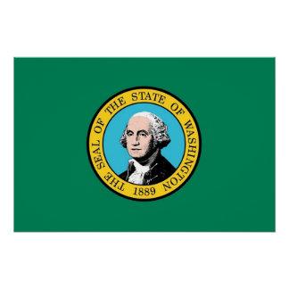 ワシントン州の旗が付いている愛国心が強いポスター ポスター