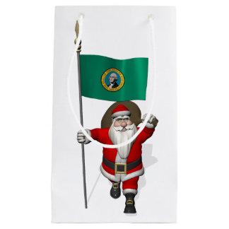 ワシントン州の旗を持つサンタクロース スモールペーパーバッグ