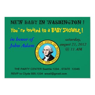 ワシントン州の旗を持つベビーシャワーの招待状 カード