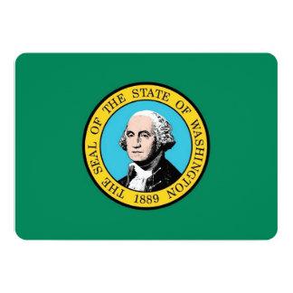 ワシントン州の旗を持つ愛国心が強い招待状 カード