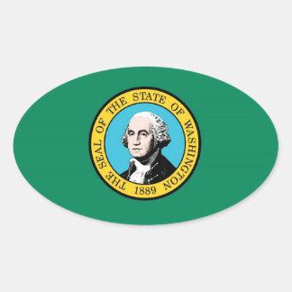 ワシントン州の旗 楕円形シール