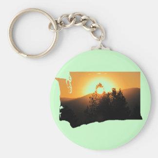 ワシントン州の日没のシルエット キーホルダー