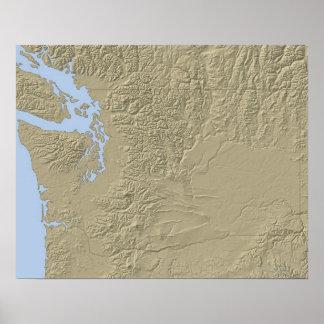 ワシントン州の立体模型地図 ポスター