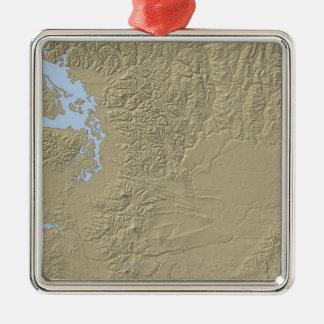 ワシントン州の立体模型地図 メタルオーナメント