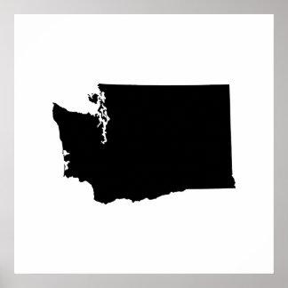 ワシントン州の輪郭 ポスター