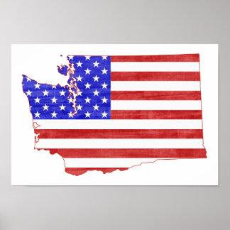 ワシントン州米国の旗のシルエットの州の地図 ポスター
