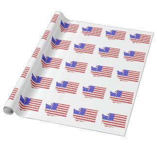 ワシントン州米国の旗のシルエットの州の地図 ラッピングペーパー