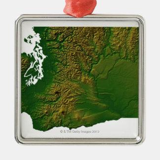 ワシントン州3の地図 メタルオーナメント