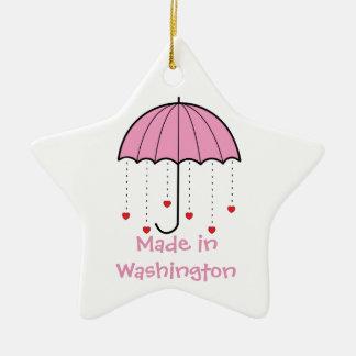 ワシントン州-ハート(ピンク)が付いている傘で作られる セラミックオーナメント