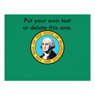 ワシントン州、米国の旗が付いているフライヤ チラシ