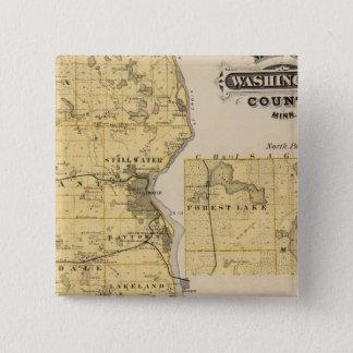 ワシントン郡、ミネソタの地図 5.1CM 正方形バッジ