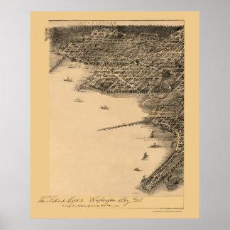 ワシントンD.C.のパノラマ式の地図- 1883年 ポスター