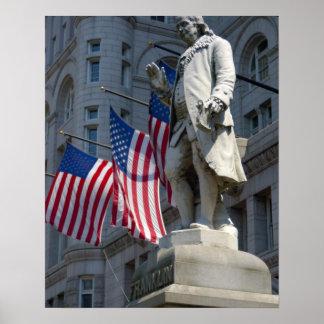 ワシントンD.C.、のベンジャミン・フランクリンの彫像 ポスター