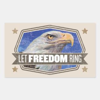 ワシ自由のリング 長方形シール