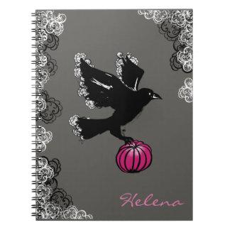 ワタリガラスおよびカボチャのハロウィンのイラストレーション ノートブック
