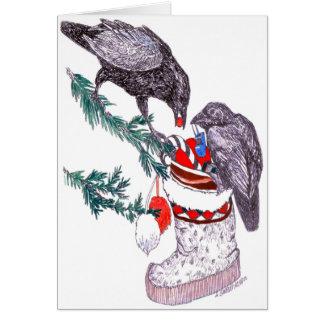 ワタリガラスおよびMuklukアラスカの野性生物のクリスマスカード カード