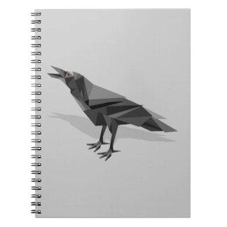 ワタリガラスの幾何学的なキュービズムの灰色の三角形 ノートブック