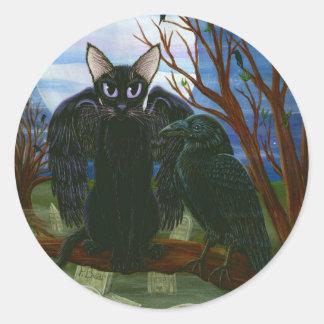 ワタリガラスの月の黒猫のカラスのゴシック様式ファンタジーのステッカー ラウンドシール