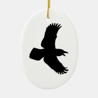 ワタリガラスの飛行中に鳥のプリント セラミックオーナメント