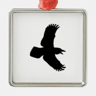 ワタリガラスの飛行中に鳥のプリント メタルオーナメント