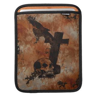 ワタリガラス、スカル、墓石、くものゴシック様式iPadの袖 iPadスリーブ