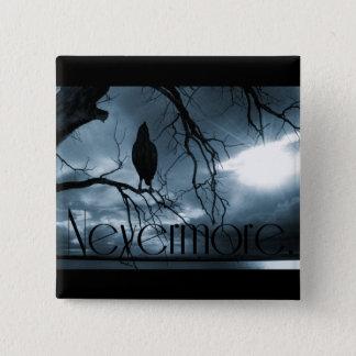 ワタリガラス- Nevermore太陽光線及び木の青 5.1cm 正方形バッジ