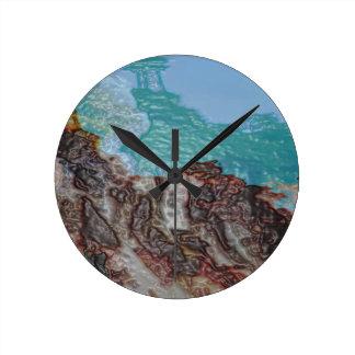 ワックスの流れのペンキの景色いかに ラウンド壁時計